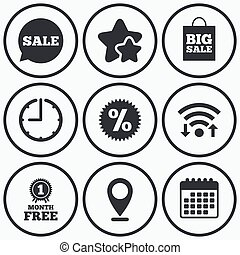 Sale speech bubble icon. Discount star symbol - Clock, wifi ...