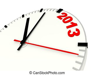 Clock with 2013 New Year sign