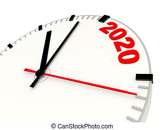 Clock with 2020 New Year sign isolated on white