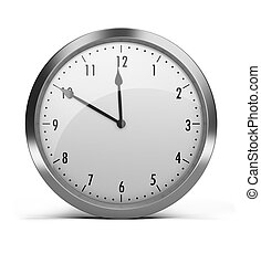 clock with a silver rim. 3d image. Isolated white background...
