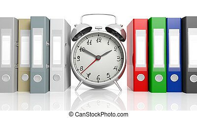 Clock with blank labeled folders on on white background.