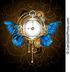 clock with blue butterfly wings - Round the clock in the...