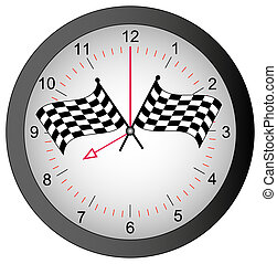 clock with checkered flags on top