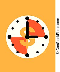 Clock with dollar sign icon in flat style, Business watch on orange background. Vector illustrator design.