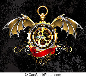 Clock with dragon wings