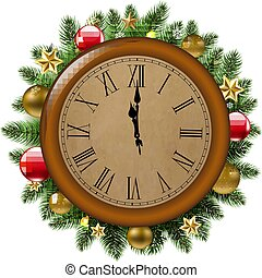 Clock With Fir Tree And Ball