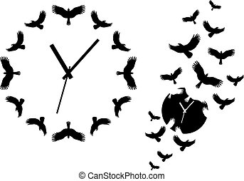 clock with flying birds, vector