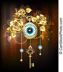 Clock with gold roses