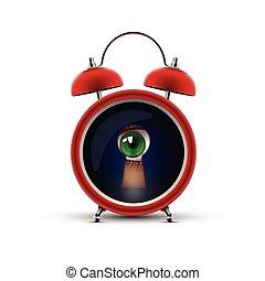 clock with keyhole eye