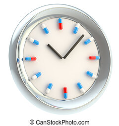 Clock with medical pills as numbers