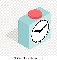 Clock with red button isometric icon