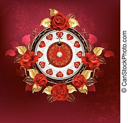 Clock with red roses