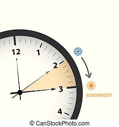 clock with sun and snowflake summer time daylight saving time