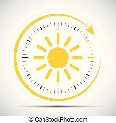 clock with sun summer time change