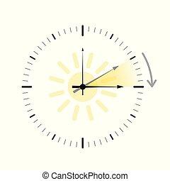 clock with sun summer time daylight saving time