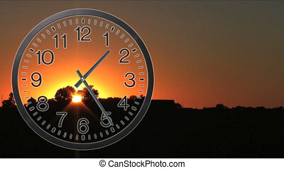 Clock With Sunset Time Lapse 02 - Twelve hour time lapse of...