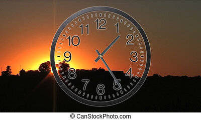 Clock With Sunset Time Lapse