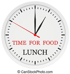 Clock with the words time for lunch.