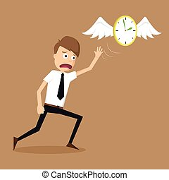 clock with wings fly escape away  from a businessman.vector