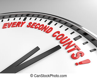 every second counts - Clock with words every second counts ...