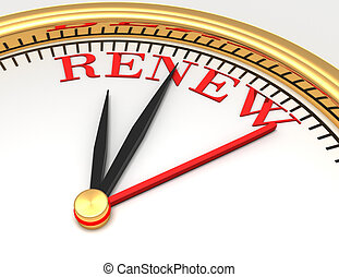 Clock with words renew on face