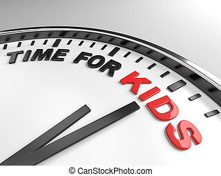 Clock with words time for kids on its face