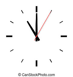 Clock without numbers with shadows.