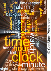 Clock word cloud glowing