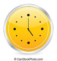 clock yellow circle icon