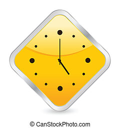 clock yellow square icon