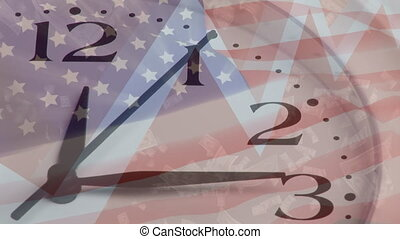 Clocking ticking and graph moving against US flag - ...