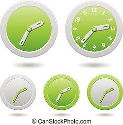 clocks, άσπρο , μοντέρνος , πράσινο , απομονωμένος