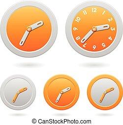 clocks, πορτοκάλι , άσπρο , μοντέρνος , απομονωμένος