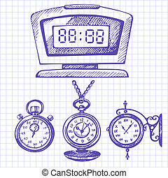 clocks, セット, 腕時計, 手, 引かれる