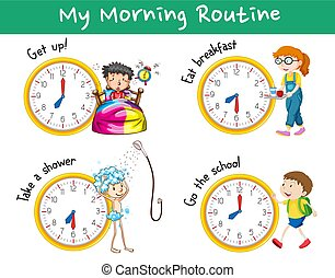 clocks, ルーチン, 子供, 朝