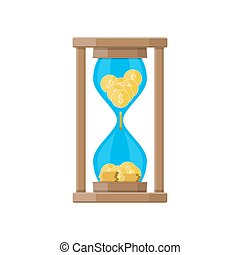 clocks, 中, コイン, ドル, 砂時計