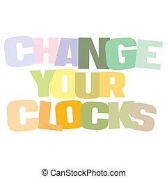 clocks, 節約, 変化しなさい, 時間, 印刷である, あなたの, 日光, イラスト