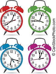 clocks, 警報, セット, レトロ, カラフルである