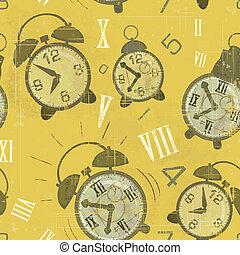 clocks, achtergrond, waarschuwing, seamless, ouderwetse