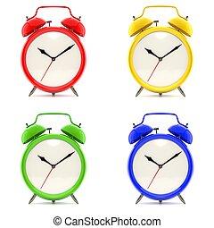 clocks, allarme, set, 4, colorito