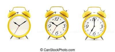 clocks, allarme, set, 4, giallo