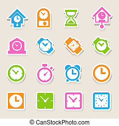 Clocks and time icons set