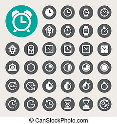 Clocks and time icons set - Business and finance icon...