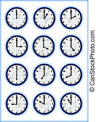 clocks, aqua
