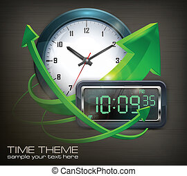 Clocks & arrows - Wall clock and electronic dial with arrows...