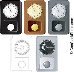 clocks, beelden, set, vector, slinger