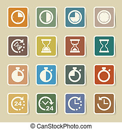 clocks, conjunto, iconos tiempo
