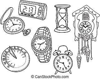 clocks, conjunto, relojes