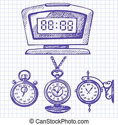 clocks, desenhado, jogo, relógios, mão
