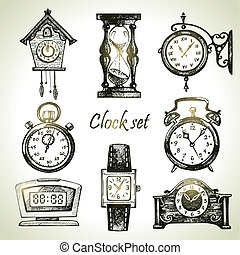 clocks, dessiné, ensemble, montres, main